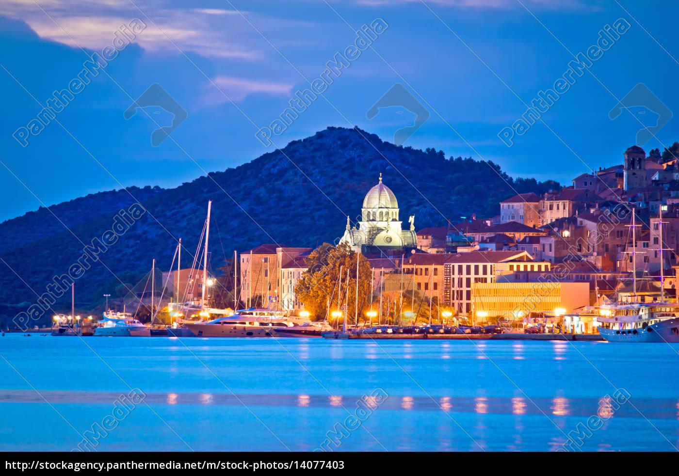 unesco, town, of, sibenik, blue, hour - 14077403