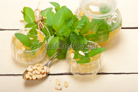arab traditional mint and pine nuts