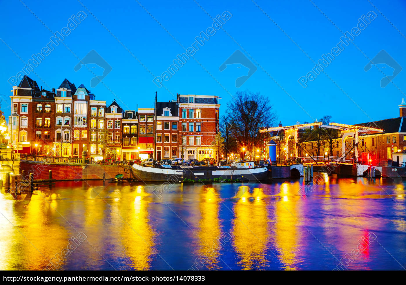 night, city, view, of, amsterdam, , the - 14078333