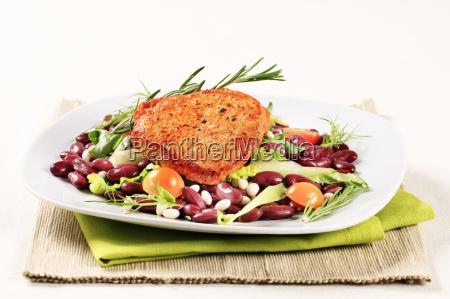 marinated pork and red bean salad