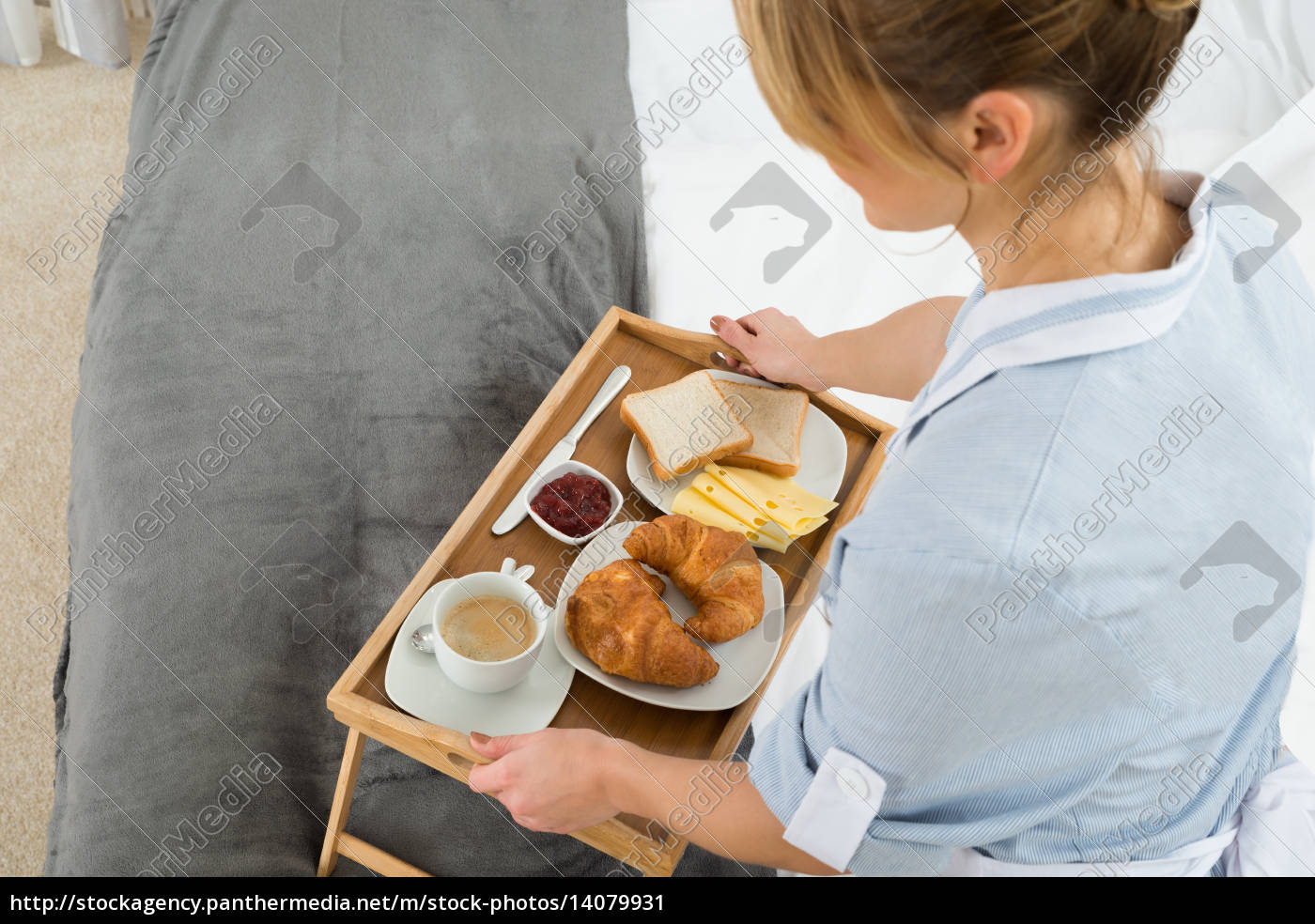 female, maid, with, breakfast, tray - 14079931