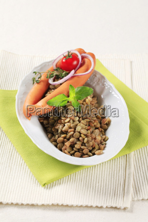 lentils, and, vienna, sausages - 14079307