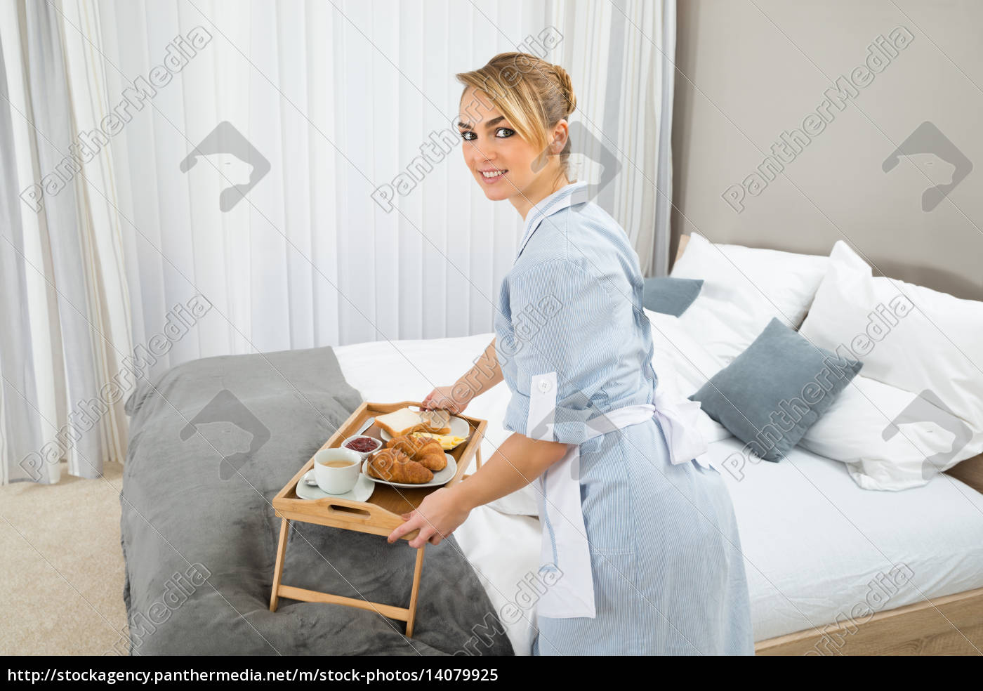 maid, keeping, breakfast, in, hotel, room - 14079925