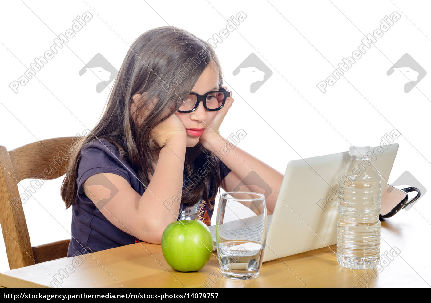 tired, young, girl, in, front, of - 14079757