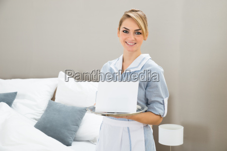 woman, holding, tray, with, placard - 14079947