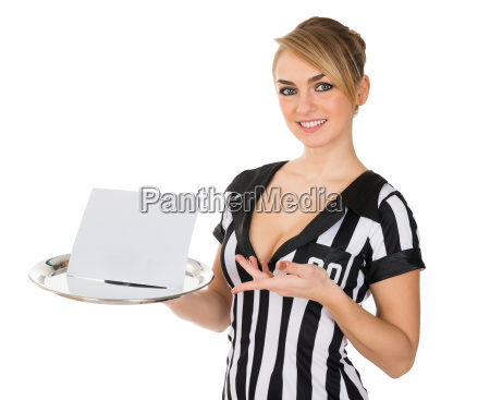 referee carrying tray with blank card