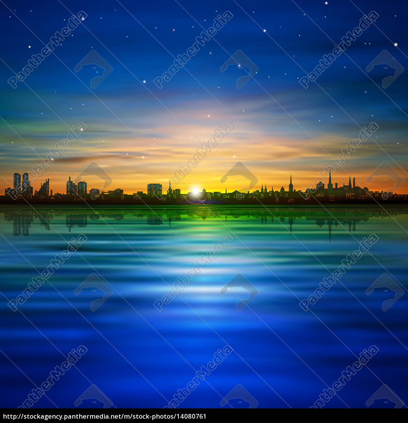 abstract, background, with, panorama, of, city - 14080761