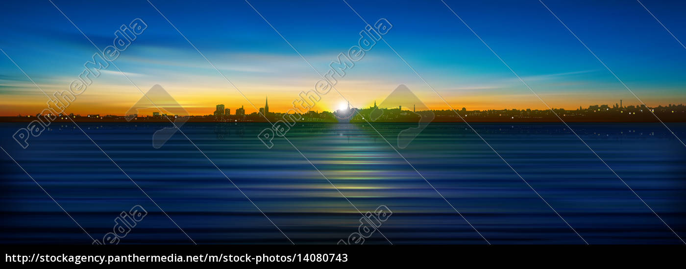 abstract, background, with, silhouette, of, city - 14080743