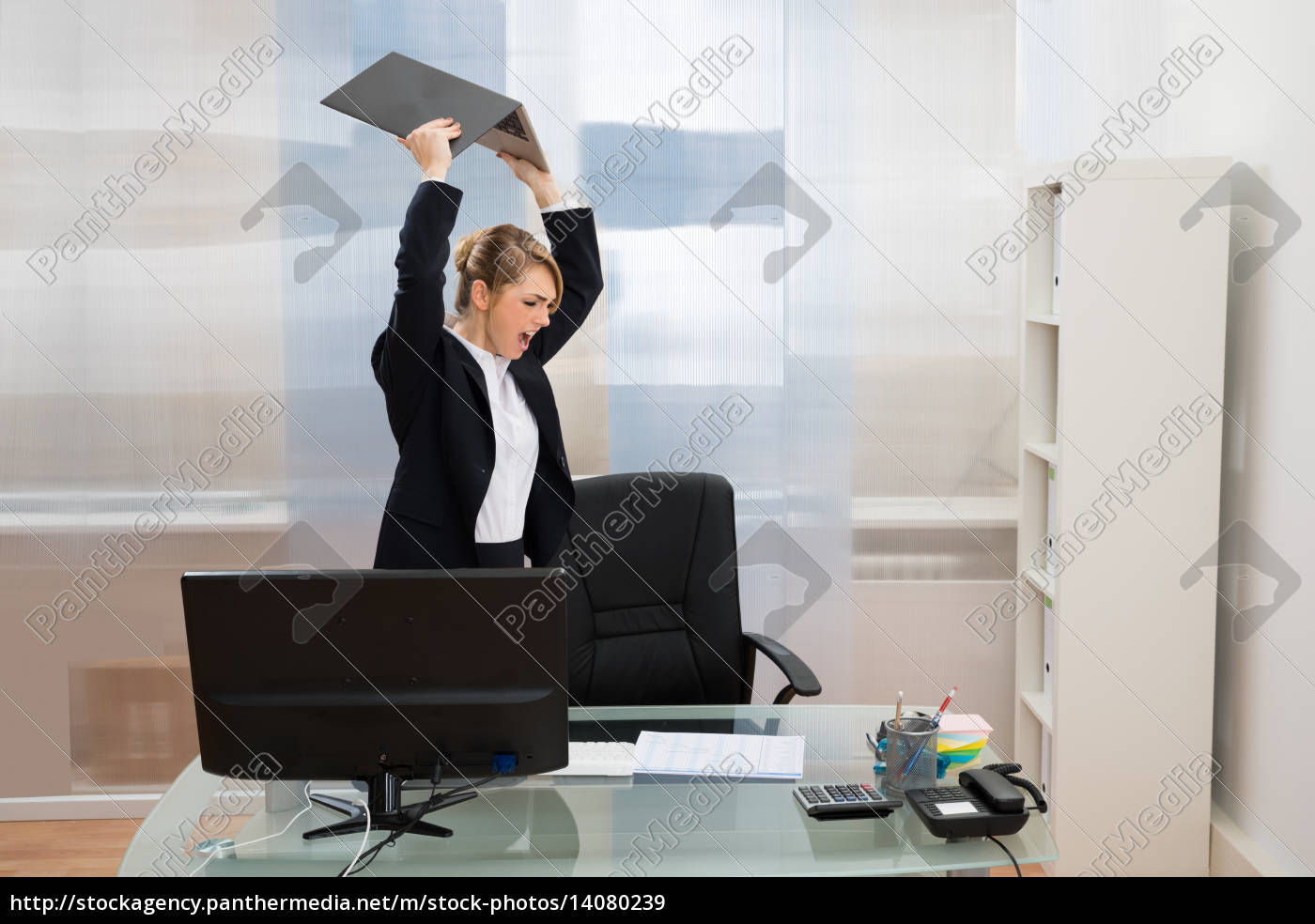 angry, businesswoman, throwing, laptop - 14080239