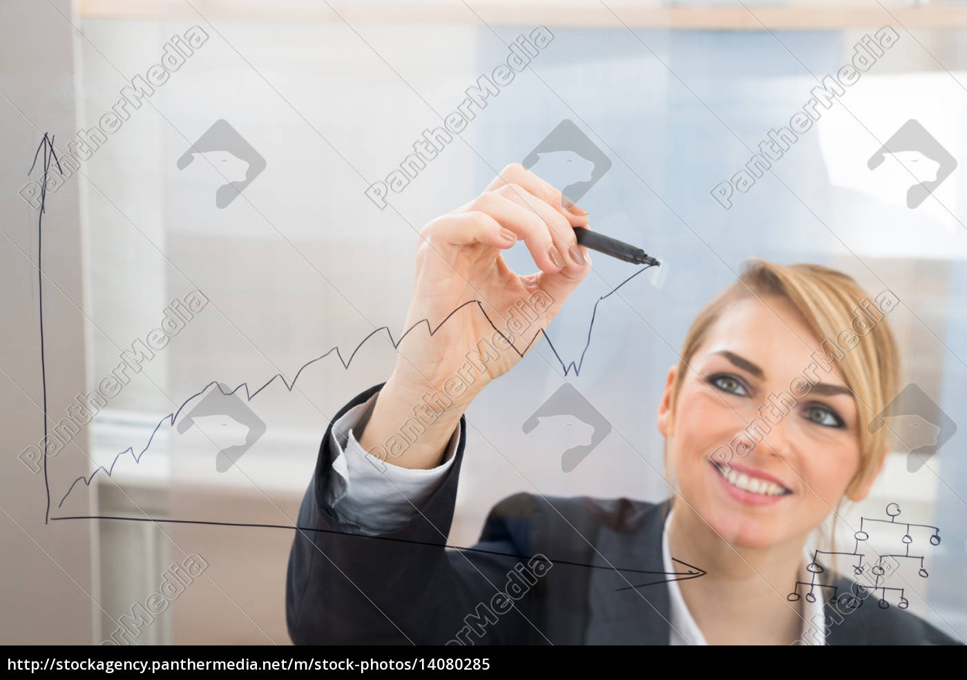 businesswoman, drawing, graph, on, glass, screen - 14080285