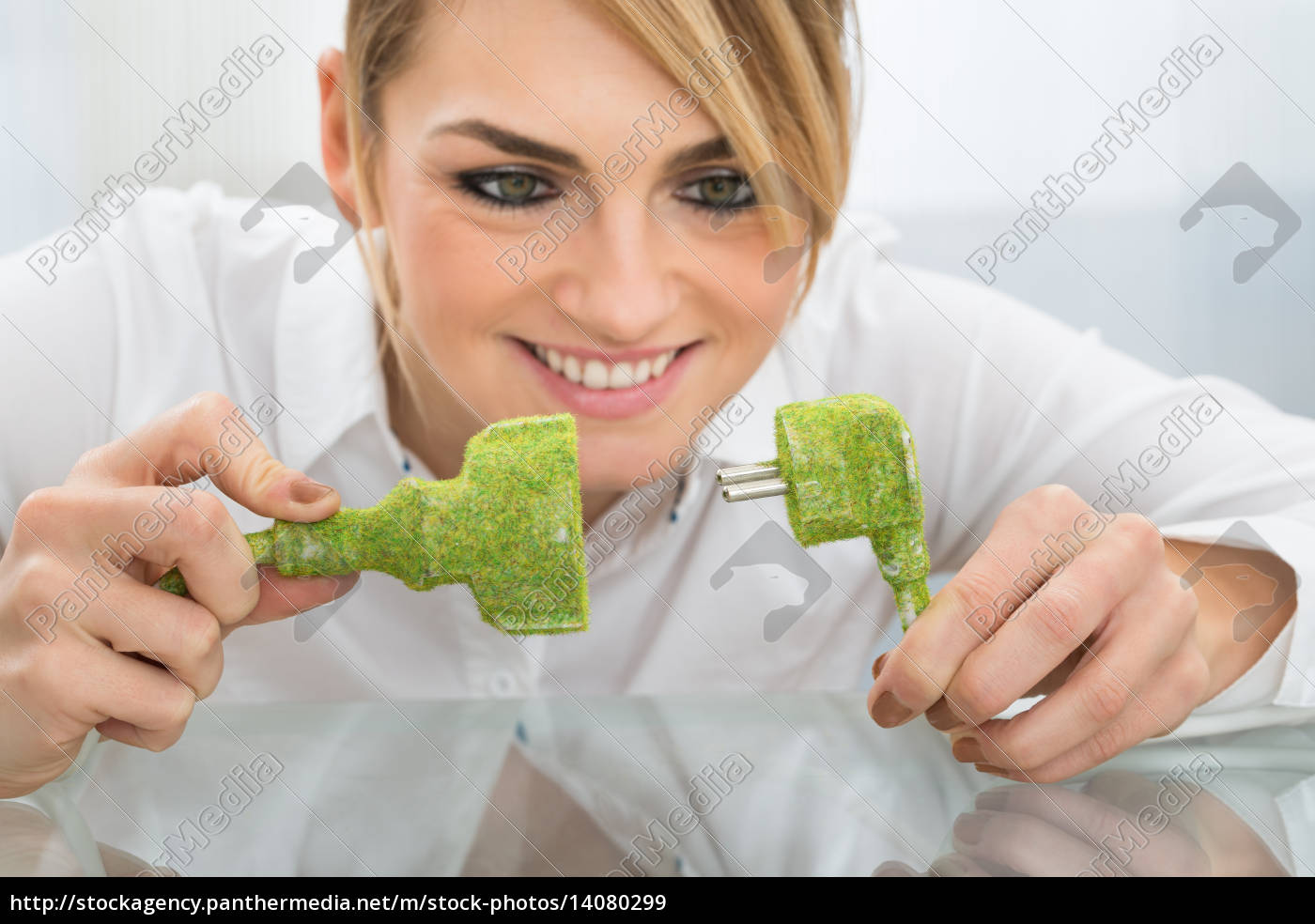 businesswoman, holding, eco, friendly, plug, and - 14080299