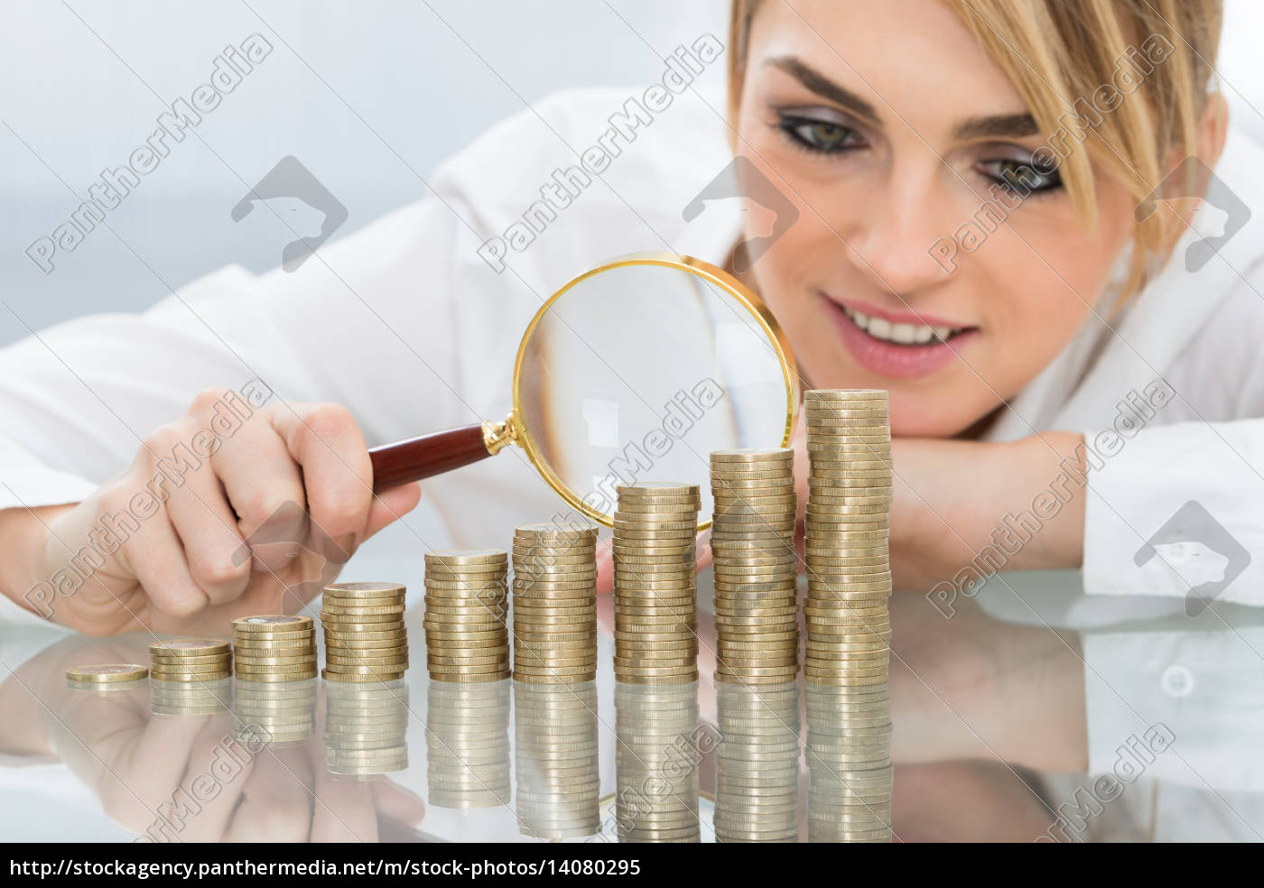 businesswoman, with, stack, of, coins, and - 14080295