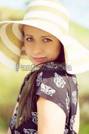 cheerful, fashionable, woman, in, stylish, hat - 14080721