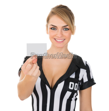 female, referee, showing, card - 14080183