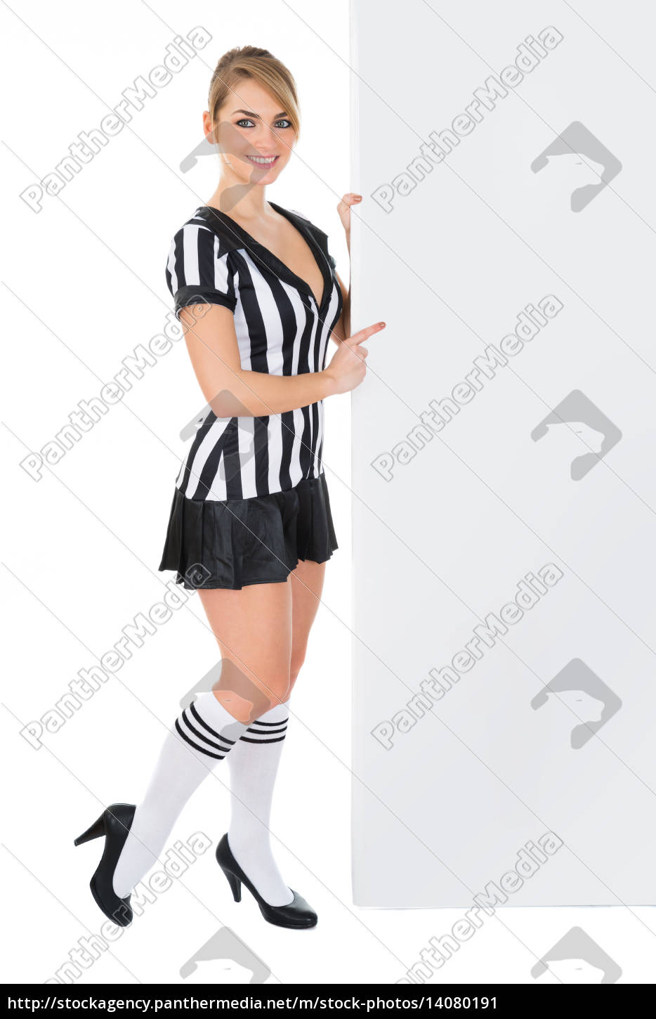 female, referee, with, billboard - 14080191