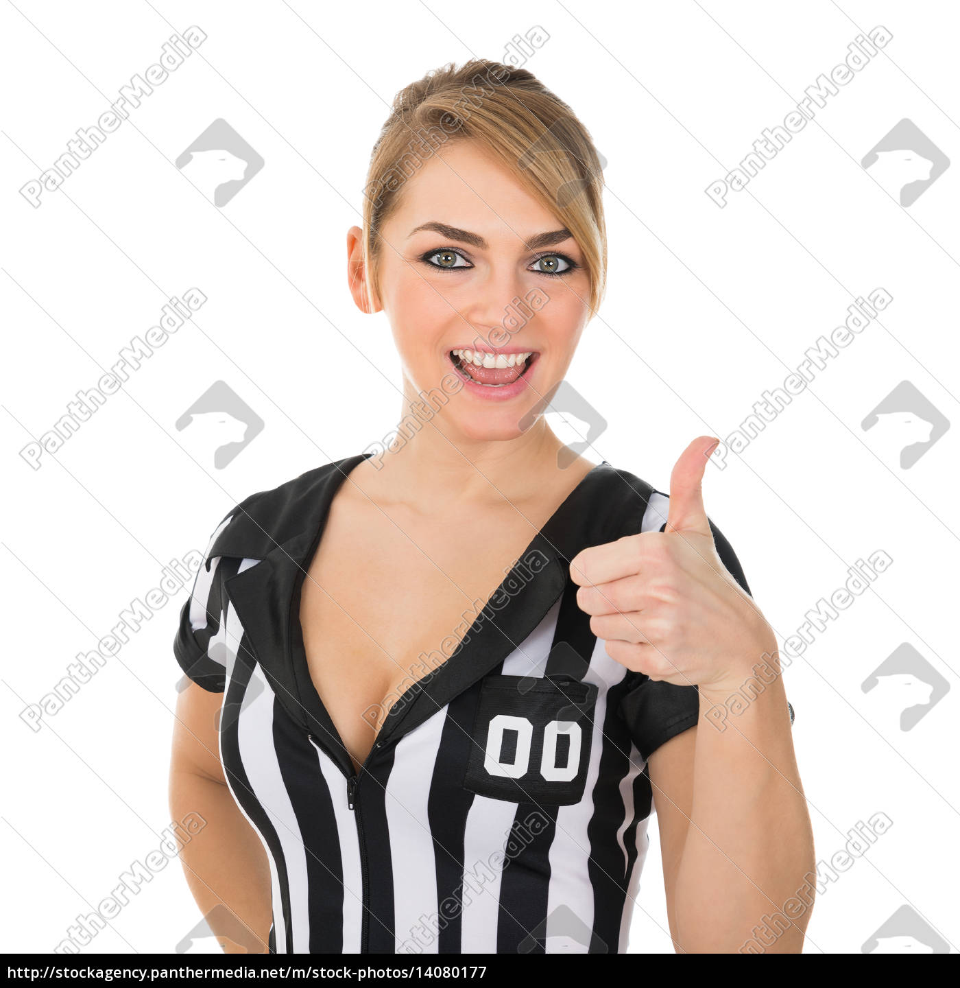 female, referee, with, thumbs, up, sign - 14080177