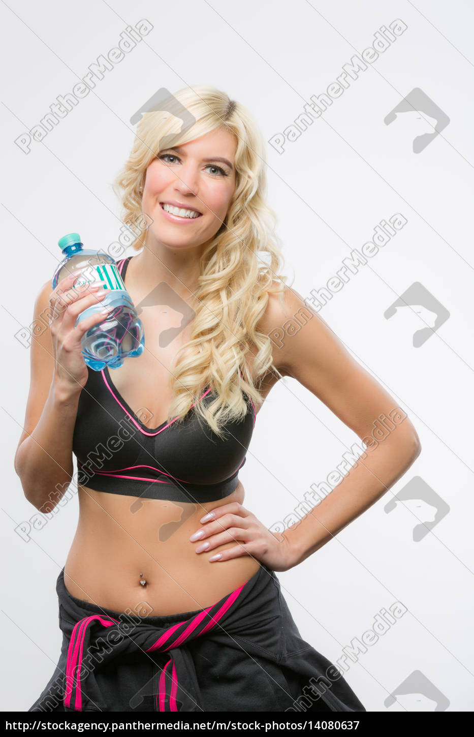 girl, playing, sports, with, water, bottle - 14080637