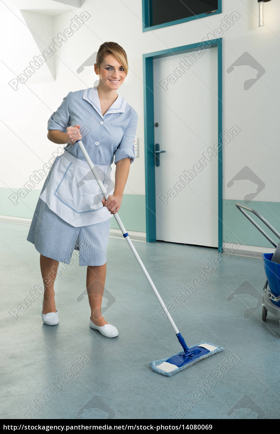 happy, female, janitor, holding, mop - 14080069