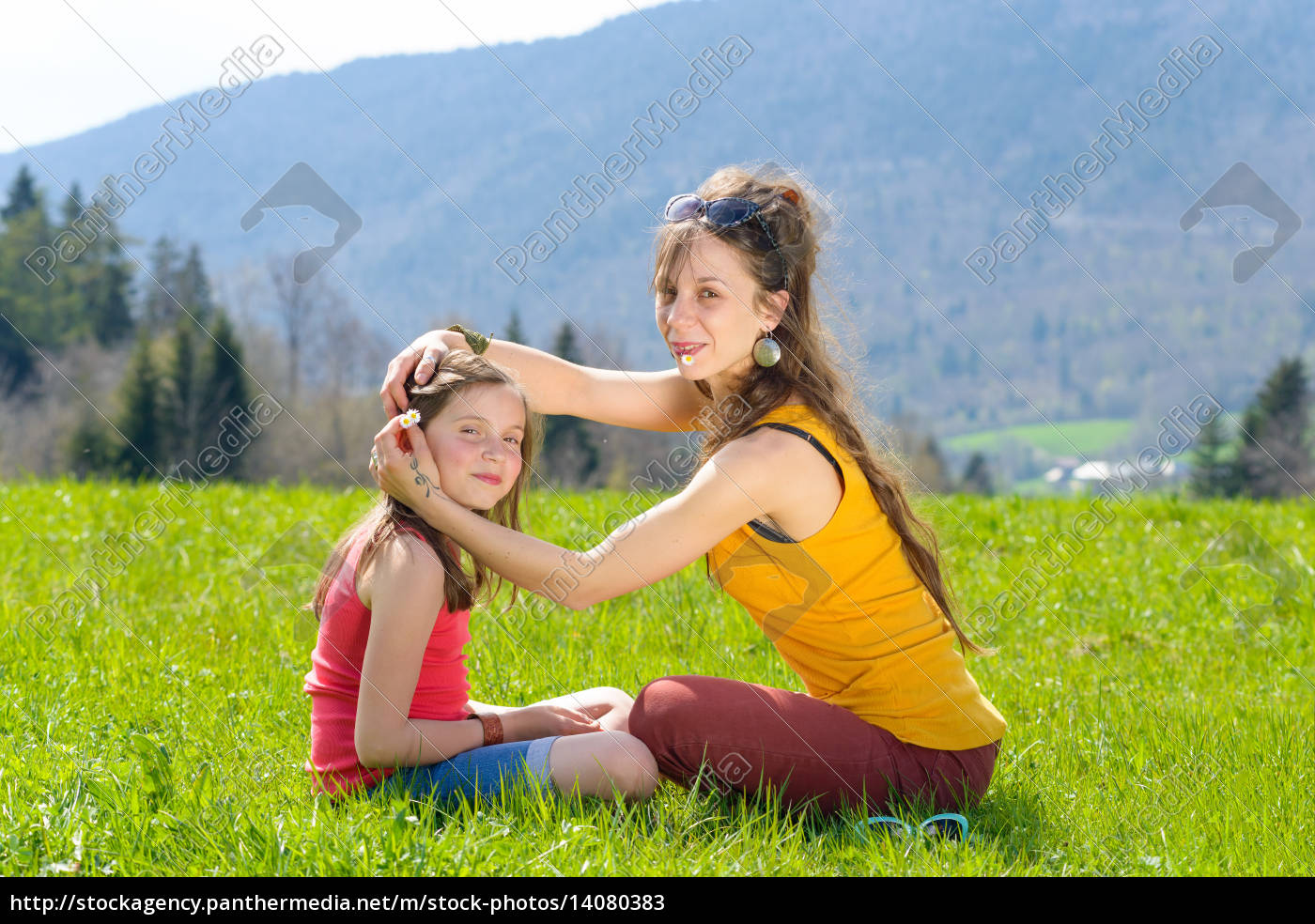 mom, and, daughter, play, with, flowers - 14080383