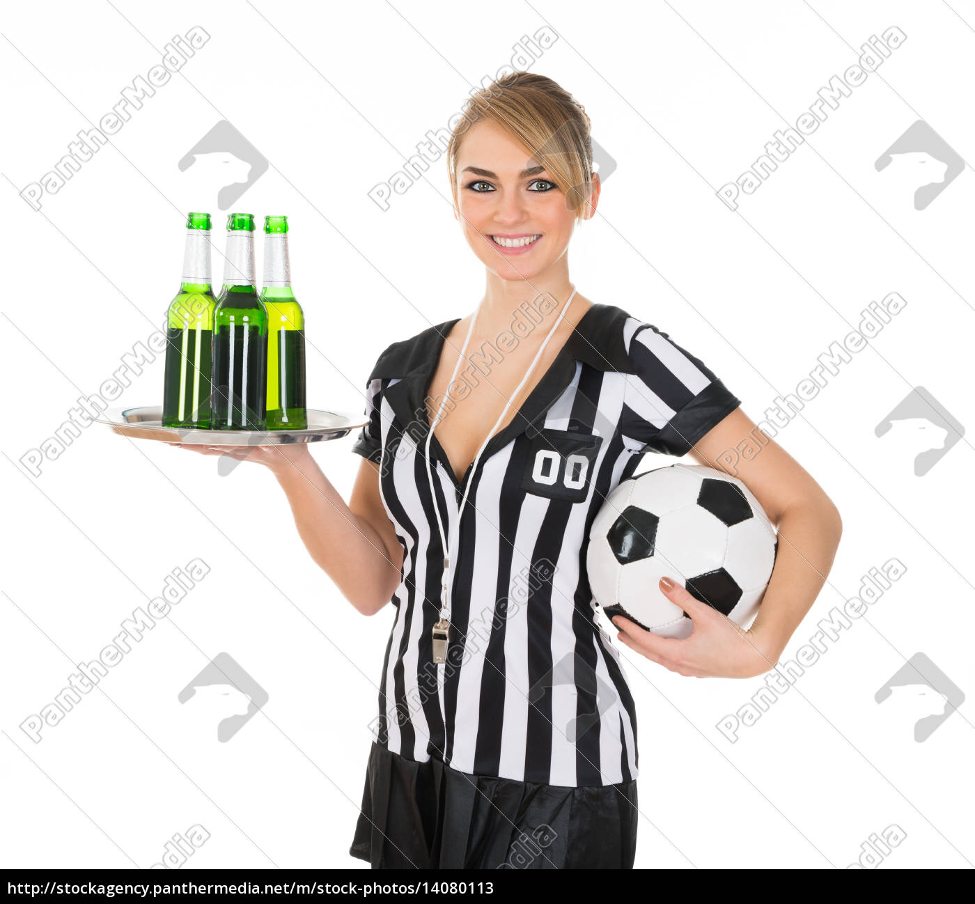 referee, holding, drinks, and, football - 14080113