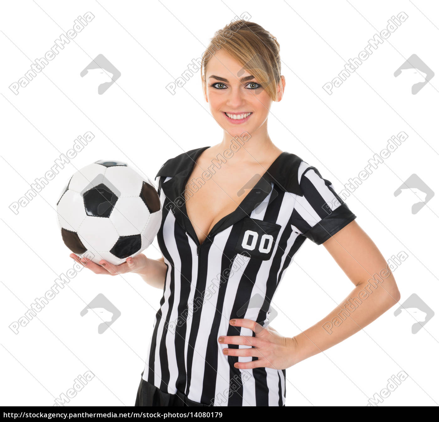 soccer, referee, with, football - 14080179
