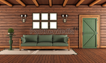 living, room, of, a, wooden, house - 14081181