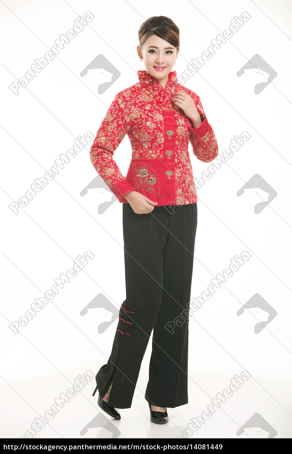 service staff, cotton wadded short gown, cotton wadded undercoat, cottonpadded jacket, greet guests, traditional chinese garments - 14081449
