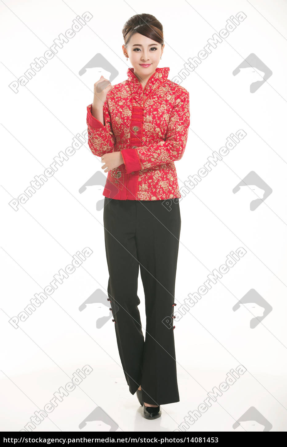 service staff, cotton wadded short gown, cotton wadded undercoat, cottonpadded jacket, greet guests, traditional chinese garments - 14081453
