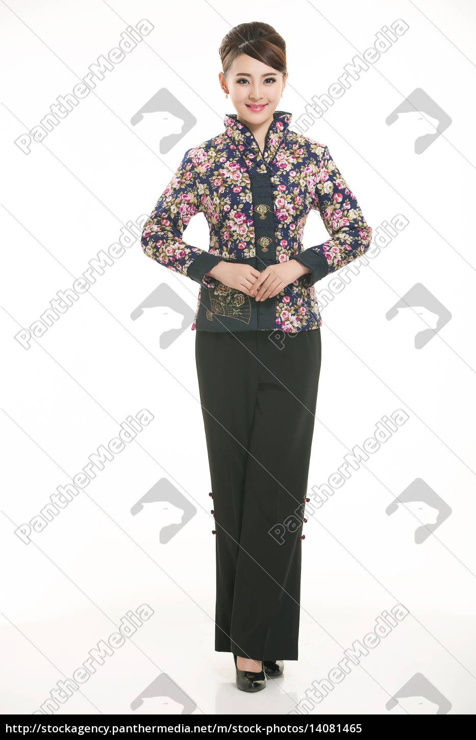 service staff, cotton wadded short gown, cotton wadded undercoat, cottonpadded jacket, greet guests, traditional chinese garments - 14081465