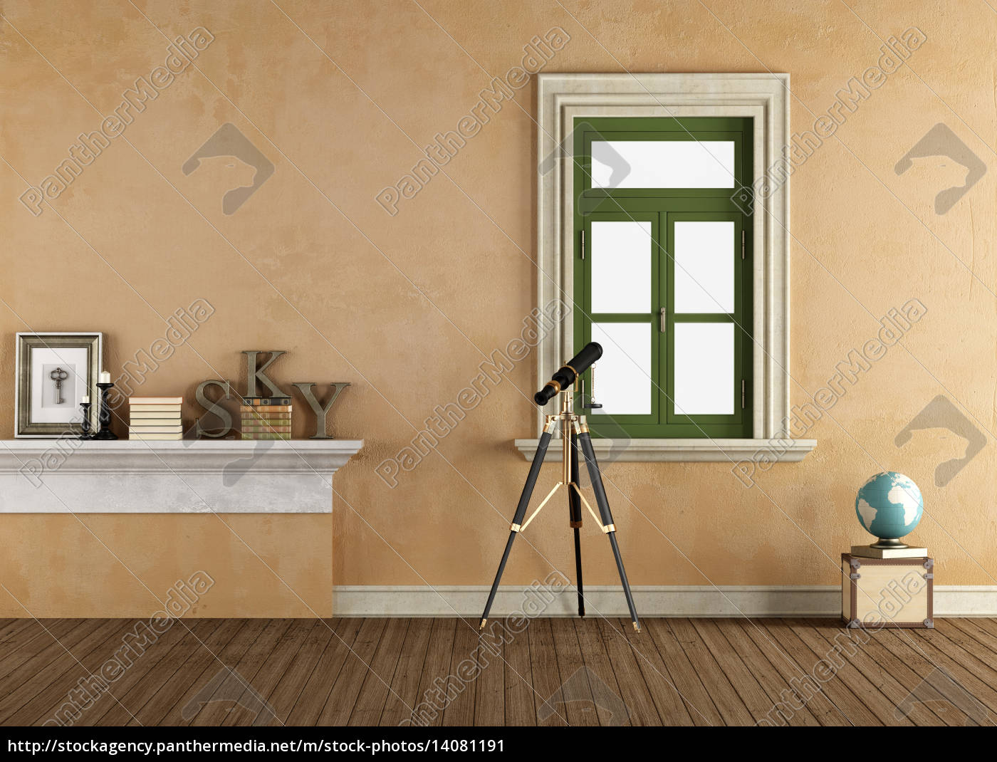 vintage, room, with, telescope - 14081191