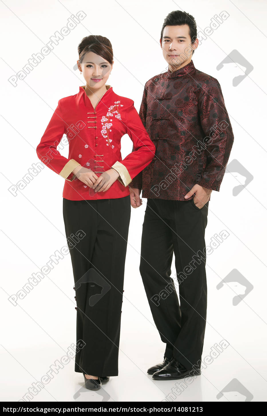 wearing, chinese, clothing, waiter, in, front - 14081213