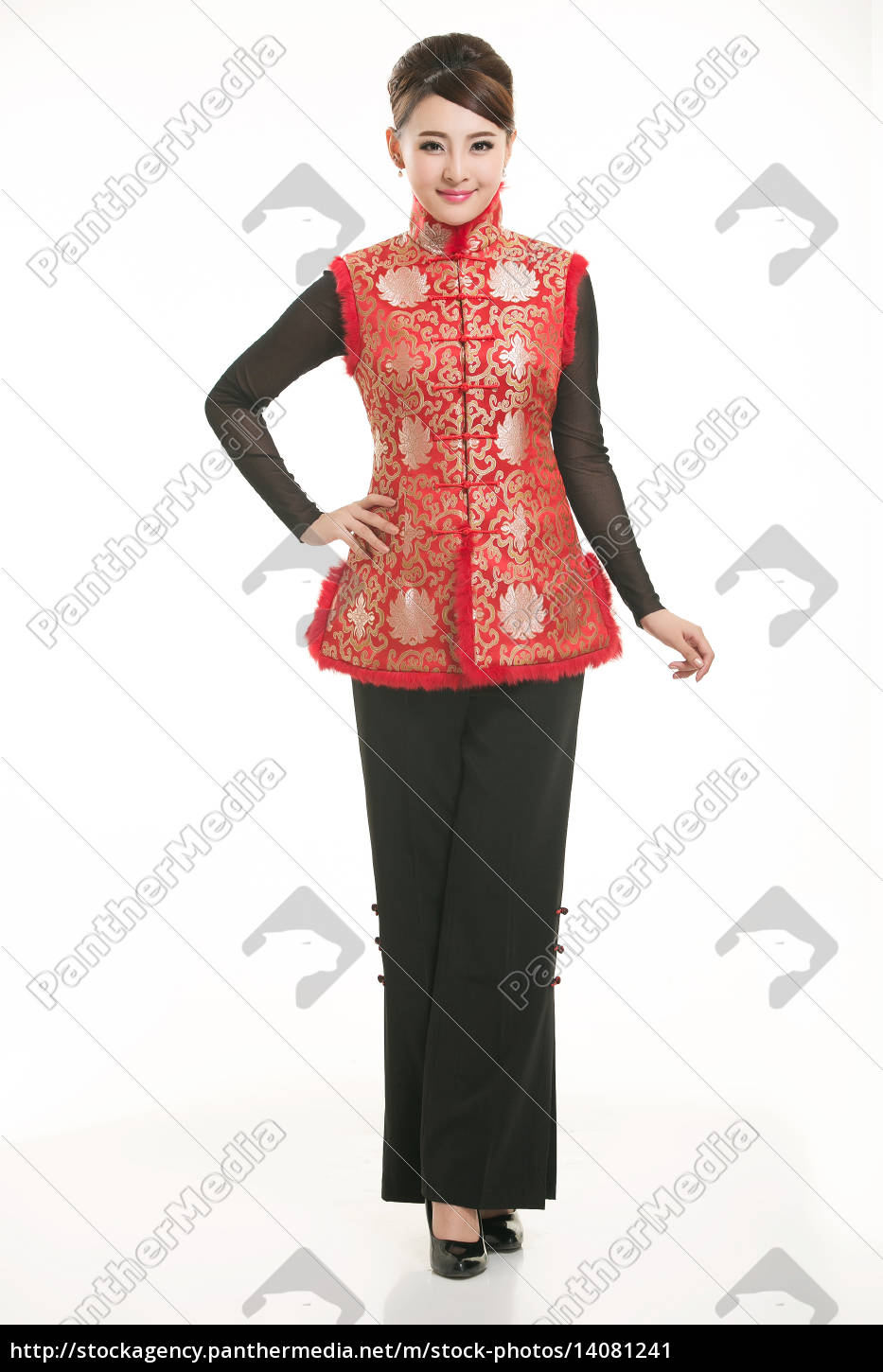 wearing, chinese, clothing, waiter, in, front - 14081241