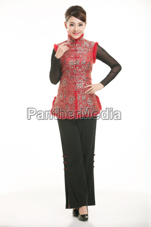 wearing, chinese, clothing, waiter, in, front - 14081253