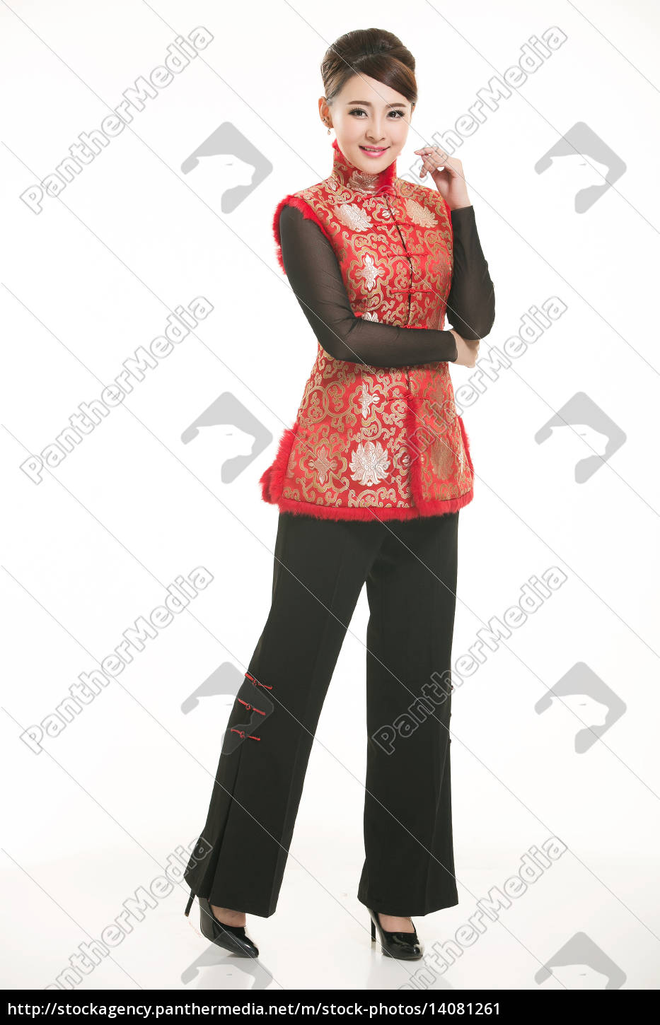 wearing, chinese, clothing, waiter, in, front - 14081261