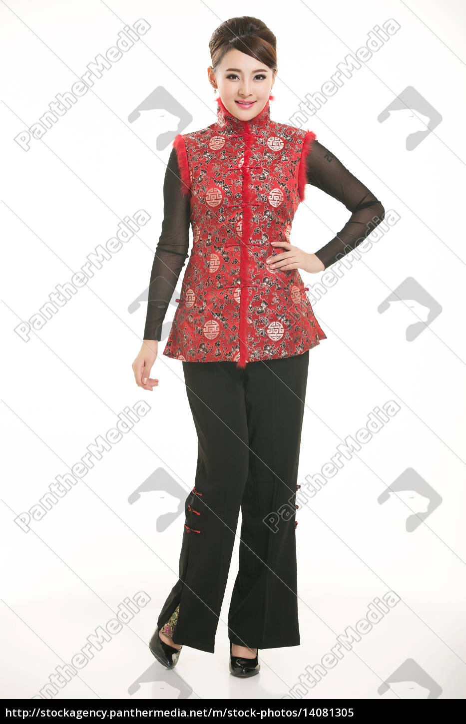 wearing, chinese, clothing, waiter, in, front - 14081305