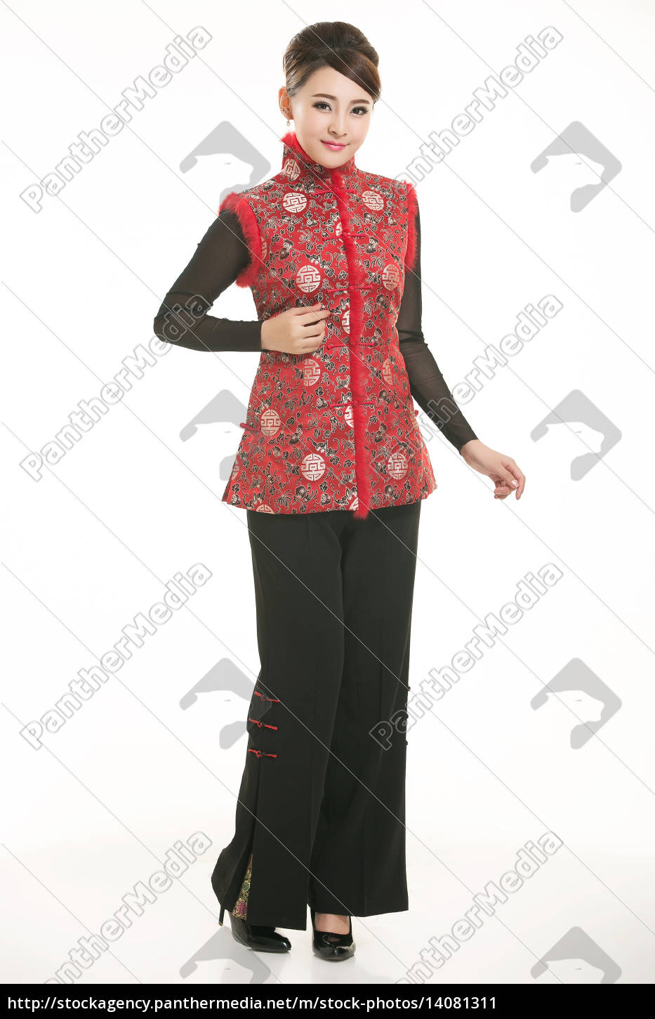 wearing, chinese, clothing, waiter, in, front - 14081311