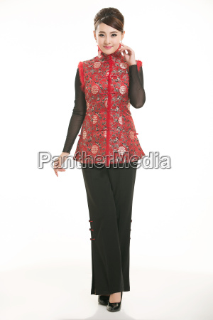 wearing, chinese, clothing, waiter, in, front - 14081315