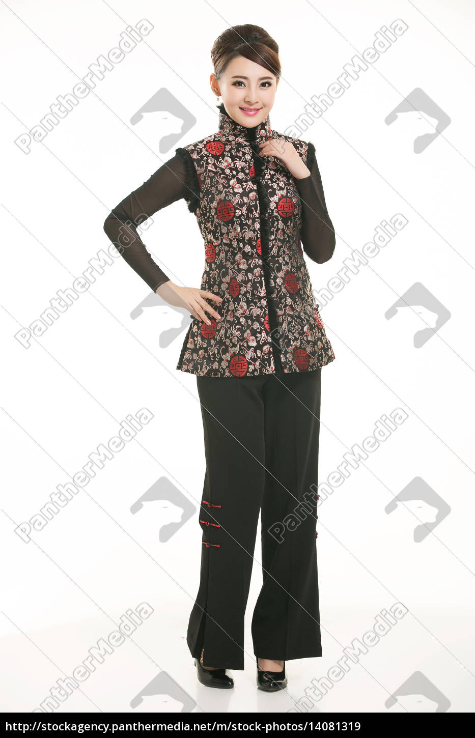 wearing, chinese, clothing, waiter, in, front - 14081319