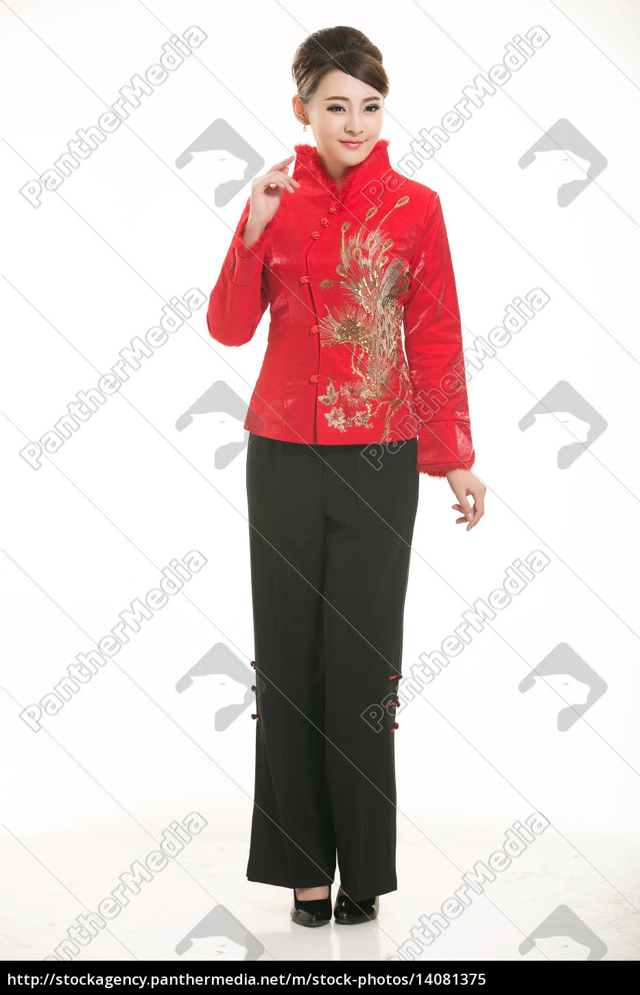 wearing, chinese, clothing, waiter, in, front - 14081375