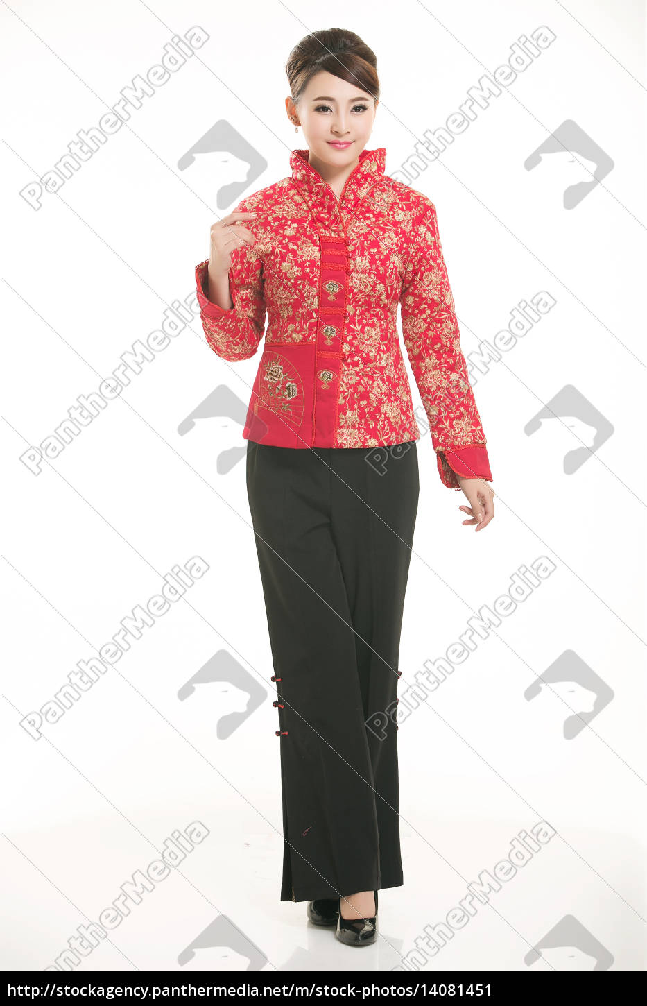 wearing, chinese, clothing, waiter, in, front - 14081451