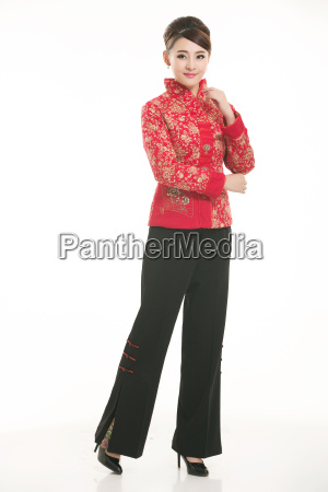 wearing, chinese, clothing, waiter, in, front - 14081457