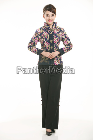 wearing, chinese, clothing, waiter, in, front - 14081465