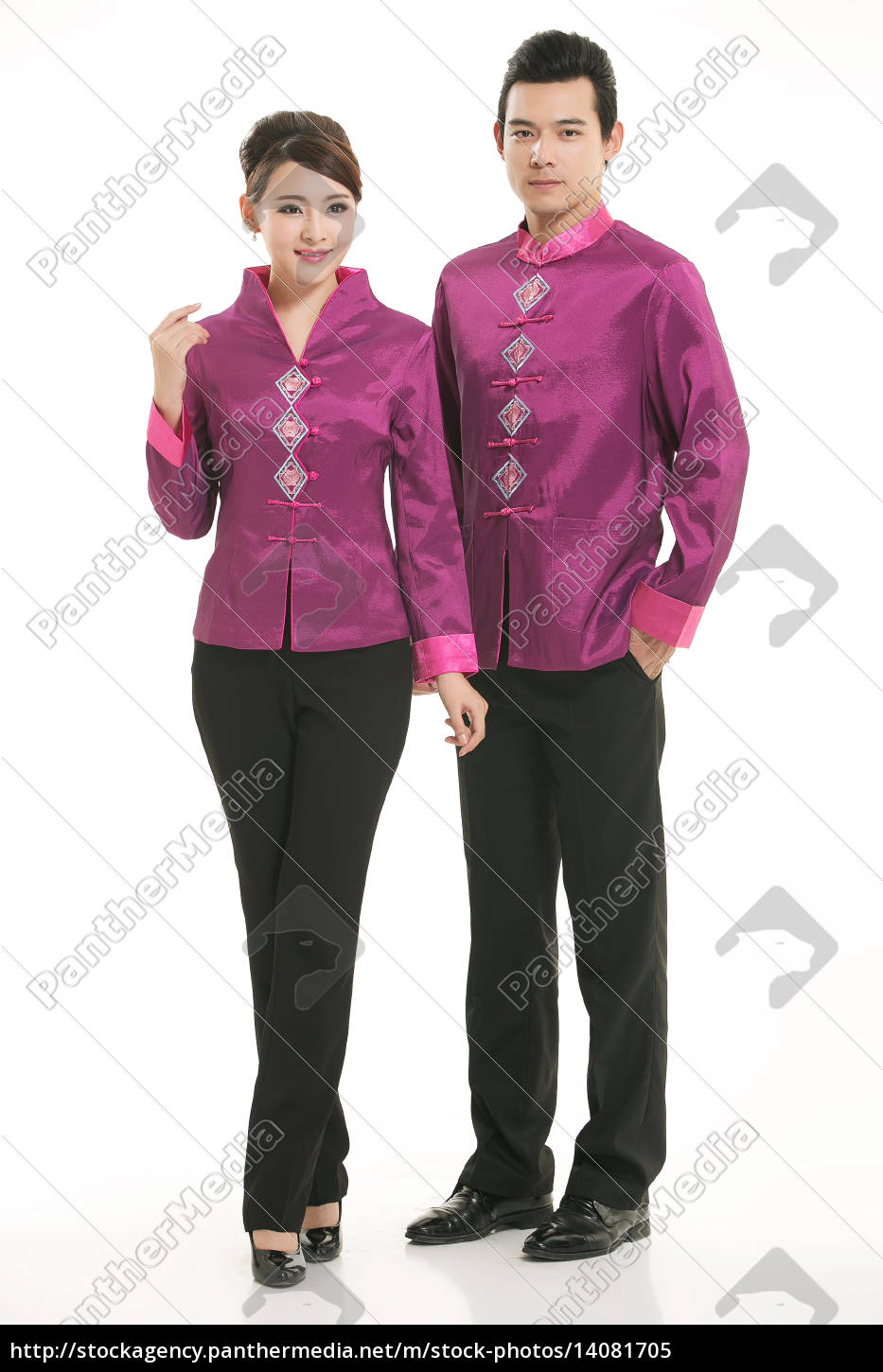 wearing, chinese, clothing, waiter, in, front - 14081705