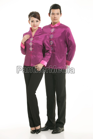 wearing, chinese, clothing, waiter, in, front - 14081709