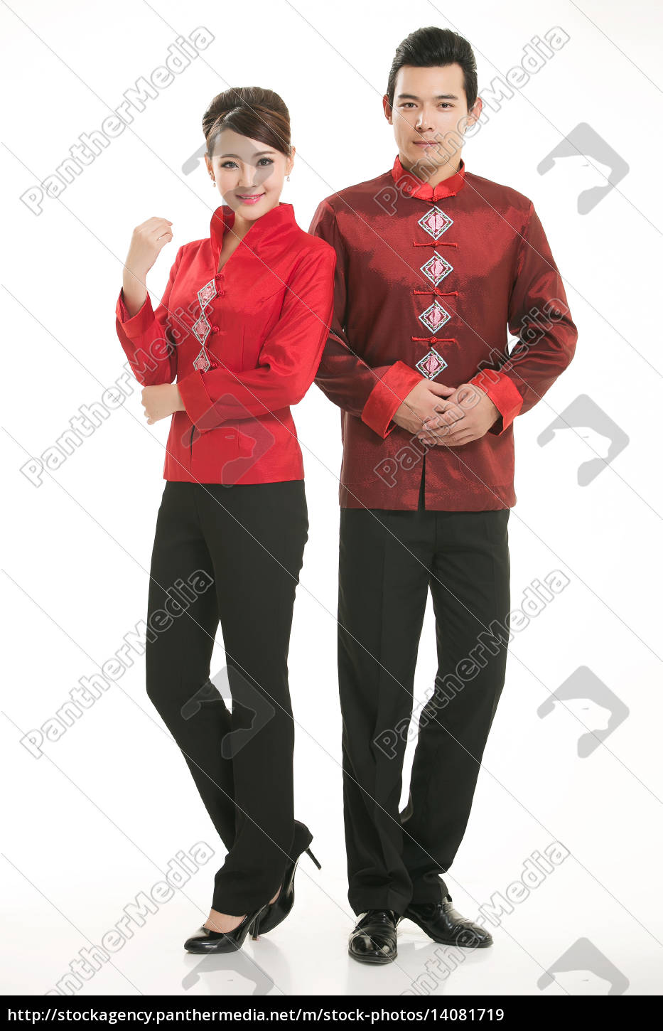 wearing, chinese, clothing, waiter, in, front - 14081719