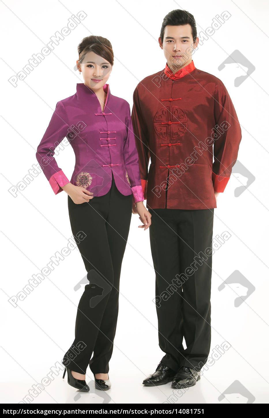 wearing, chinese, clothing, waiter, in, front - 14081751