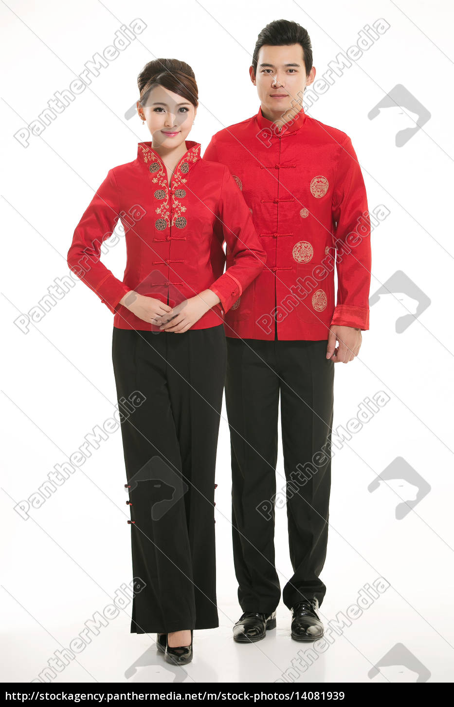 wearing, chinese, clothing, waiter, in, front - 14081939