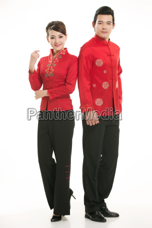 wearing, chinese, clothing, waiter, in, front - 14081949