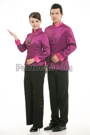 wearing, chinese, clothing, waiter, in, front - 14081971