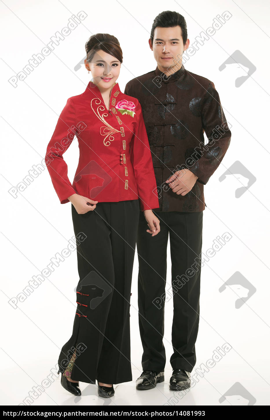 wearing, chinese, clothing, waiter, in, front - 14081993